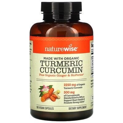 NatureWise Organic Turmeric Curcumin, 180 Vegan Capsules