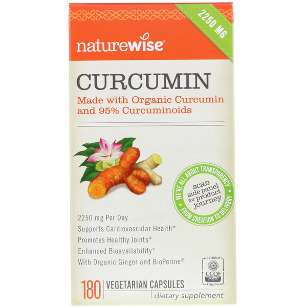 NatureWise, Curcumin, 2250 mg, 180 Vegetarian Capsules (Discontinued Item)
