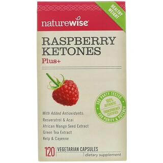 NatureWise, Raspberry Ketones Plus, 120 Vegetarian Capsules