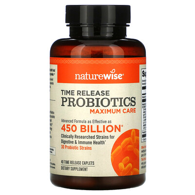 NatureWise Time Release Probiotics, Maximum Care, 40 Time Release Caplets
