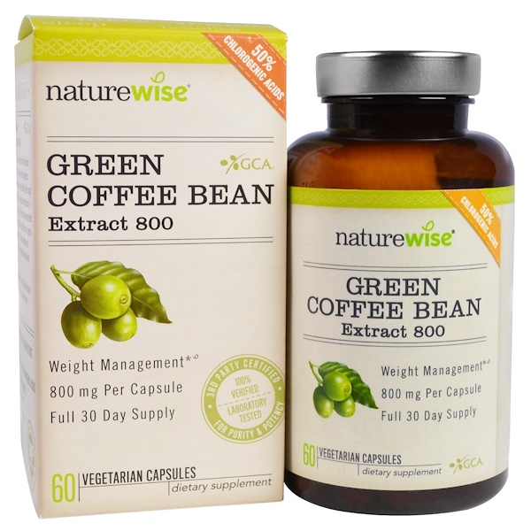 NatureWise, Green Coffee Bean Extract 800, 60 Veggie Caps (Discontinued Item)