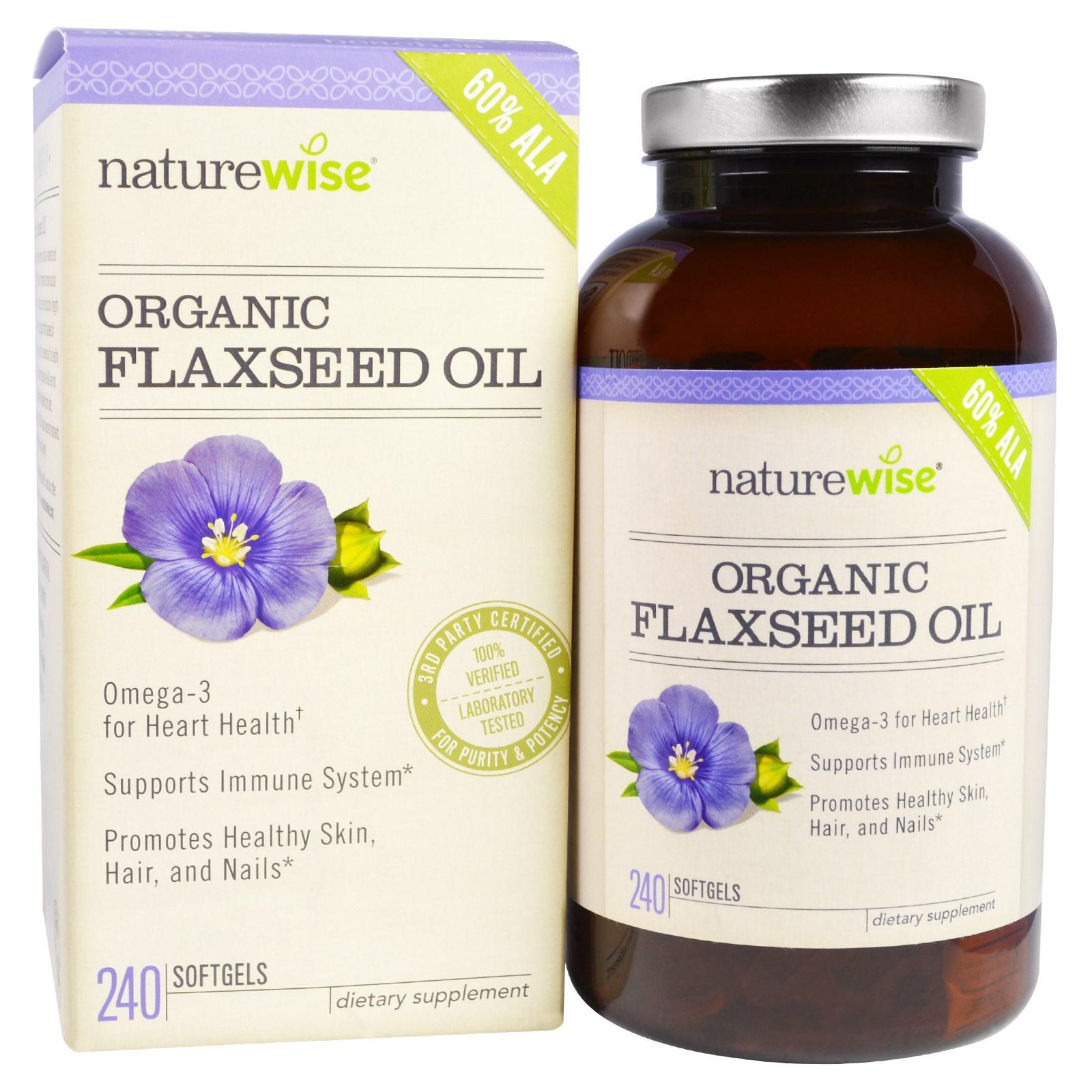 NatureWise, Органическое льняное масло, 240 мягких капсул