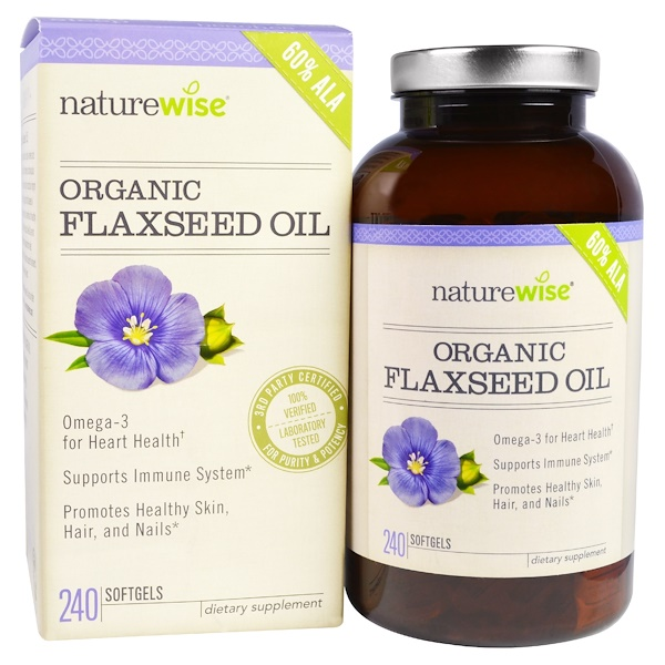 NatureWise, Organic Flaxseed Oil, 240 Softgels (Discontinued Item)