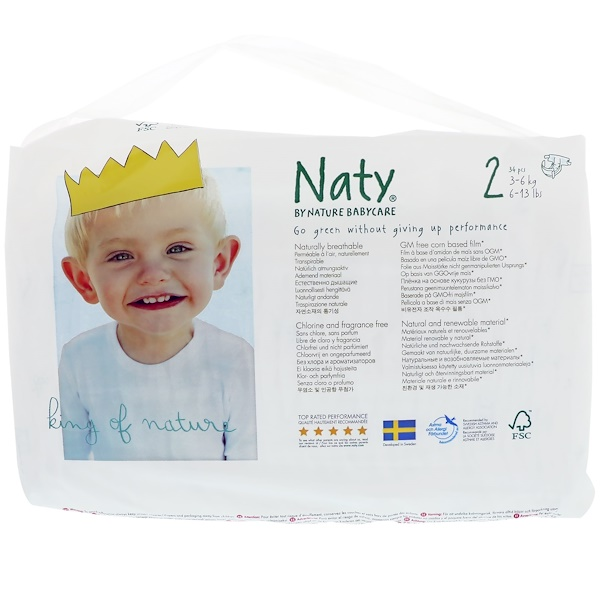 Naty, Diapers, Size 2, 6-13 lbs (3-6 kg), 34 Diapers (Discontinued Item)