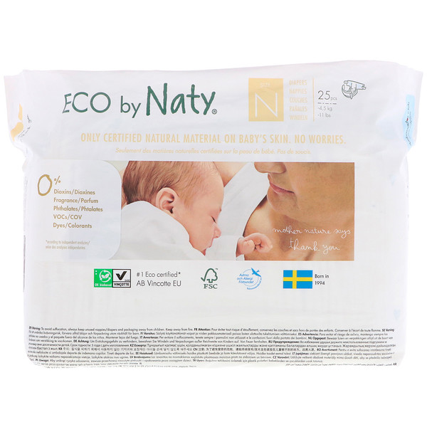 Naty, Diapers, Size N, -11 lbs (-4,5 kg), 25 Diapers (Discontinued Item)