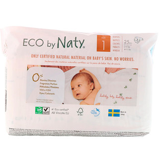 Naty, Diapers for Sensitive Skin, Size 1, 4-11 lbs (2-5 kg), 25 Diapers