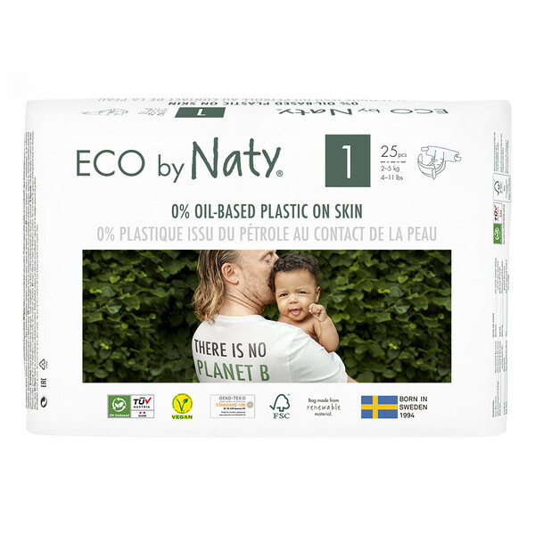 Naty, Diapers for Sensitive Skin, Size 1, 4-11 lbs (2-5 kg), 25 Diapers (Discontinued Item)