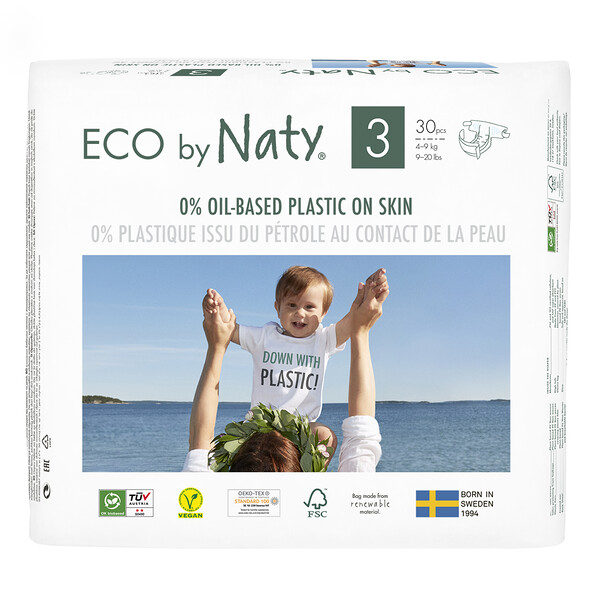 Naty, Diapers for Sensitive Skin, Size 3, 9-20 lbs (4-9 kg), 30 Diapers (Discontinued Item)
