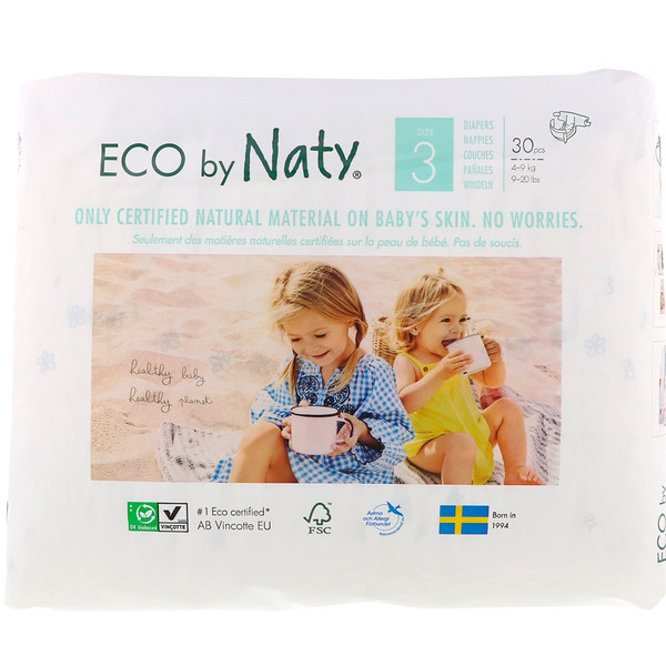 Diapers for Sensitive Skin, Size 3, 9-20 lbs (4-9 kg), 30 Diapers