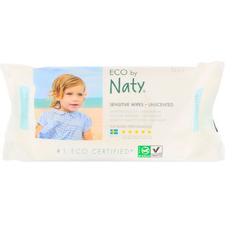 Naty, 민감성 피부 물티슈, 무 향, 56 개입