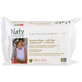 Naty, Sensitive Wipes with Aloe, 56 Wipes