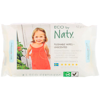 Naty, Flushable Wipes, Unscented, 42 Wipes