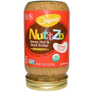 Nuttzo, Organic, Seven Nut & Seed Butter, Crunchy, Power Fuel, 16 oz (454 g)