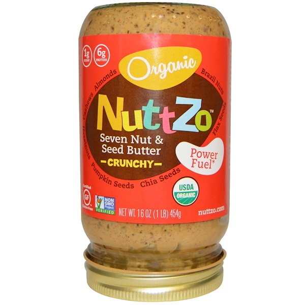 Nuttzo, Organic, Seven Nut & Seed Butter, Crunchy, Power Fuel, 16 oz (454 g) (Discontinued Item)