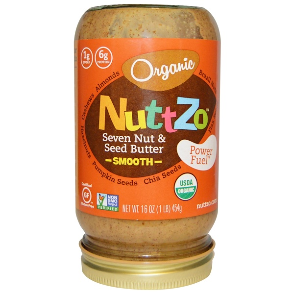 Nuttzo, Organic, Seven Nut & Seed Butter, Smooth, Power Fuel, 16 oz (454 g) (Discontinued Item)
