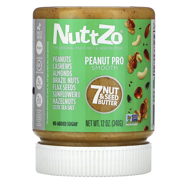 Nuttzo, Peanut Pro, 7 Nut & Seed Butter, Smooth, 12 oz (340 g)