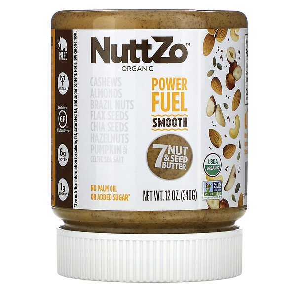 Organic Power Fuel, 7 Nut & Seed Butter, Smooth, 12 oz (340 g)