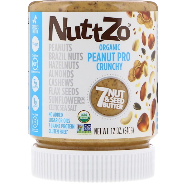 Nuttzo, Organic, Peanut Pro, 7 Nut & Seed Butter, Crunchy, 12 oz (340 g) (Discontinued Item)