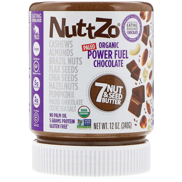 Nuttzo, Orgánica, combustible para la potencia, mantequilla de 7 nueces y semillas, chocolate, 12 oz (340 g) (Discontinued Item)