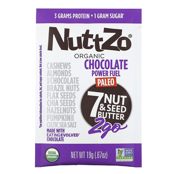 Nuttzo, Organic, Paleo Power Fuel, 7 Nut & Seed Butter, 2Go, 10 Packs, .67 oz (19 g) Each