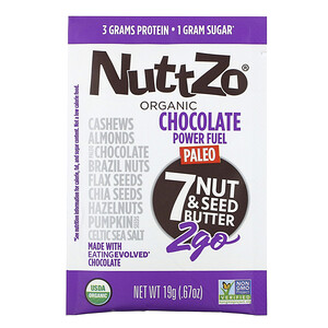 Nuttzo, Organic, Paleo Power Fuel 2Go, 7 Nut & Seed Butter, Chocolate, 10 Packs, .67 oz (19 g) Each