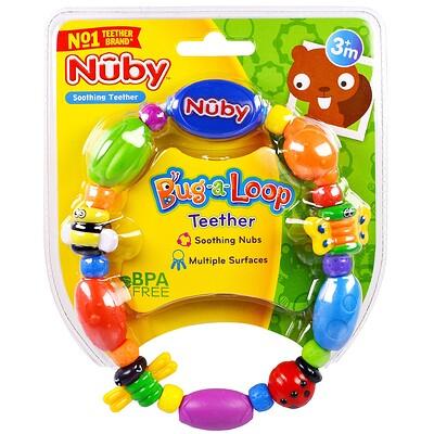 Nuby 長牙舒緩玩具圈,彩色咬嚼圈,3個月以上,1個玩具圈
