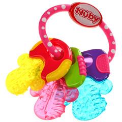 Nuby, 舒緩牙膠,IcyBite 鑰匙扣,3 個月以上,粉色,1 個