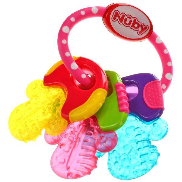 Nuby, 舒缓牙胶,IcyBite 钥匙扣,3 个月以上,粉色,1 个
