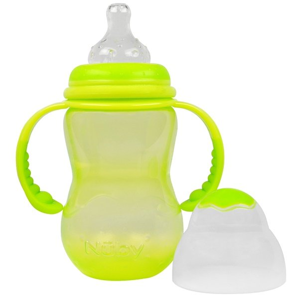 Nuby, Non-Drip Wide Neck Anti-Colic Air System, 3 + Months, 10 oz (300 ml) (Discontinued Item)