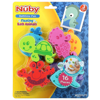 Nuby, Floating Bath Animals, 3+ Years, 16 Pieces