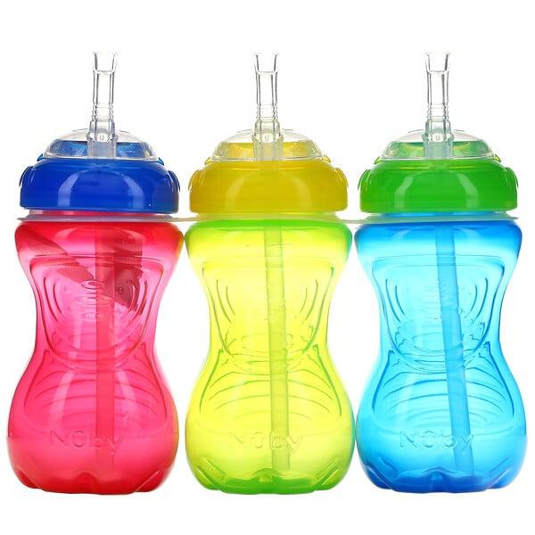 防溢漏軟管學飲杯,12 個月以上,男孩,3 個,每個 10 盎司(300 毫升)