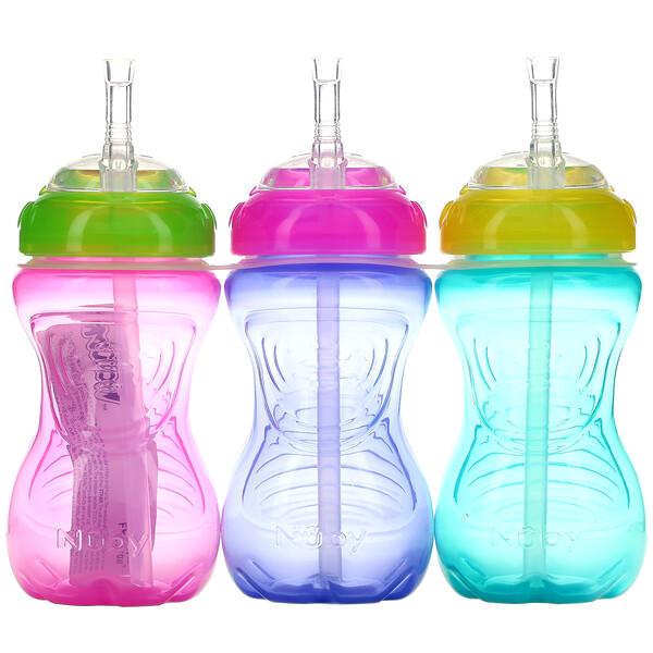 No Spill FlexStraw Cups, 12+ Months, Girl, 3 Pack, 10 oz (300 ml) Each