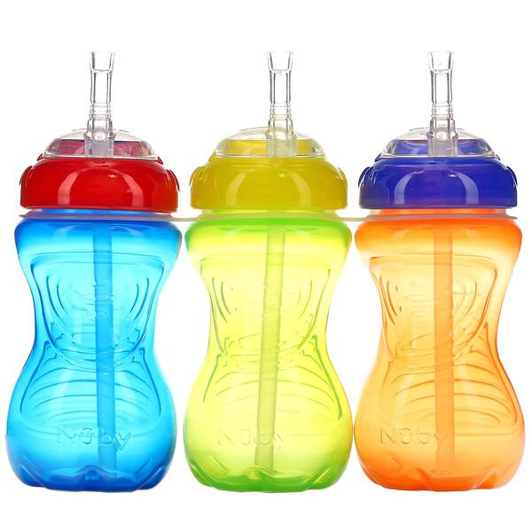 No Spill FlexStraw Cups, 12+Months, Neutral, 3 Pack, 10 oz (300 ml) Each