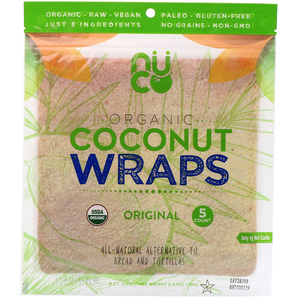 Organic Coconut Wraps, Original, 5 Wraps (14 g) Each