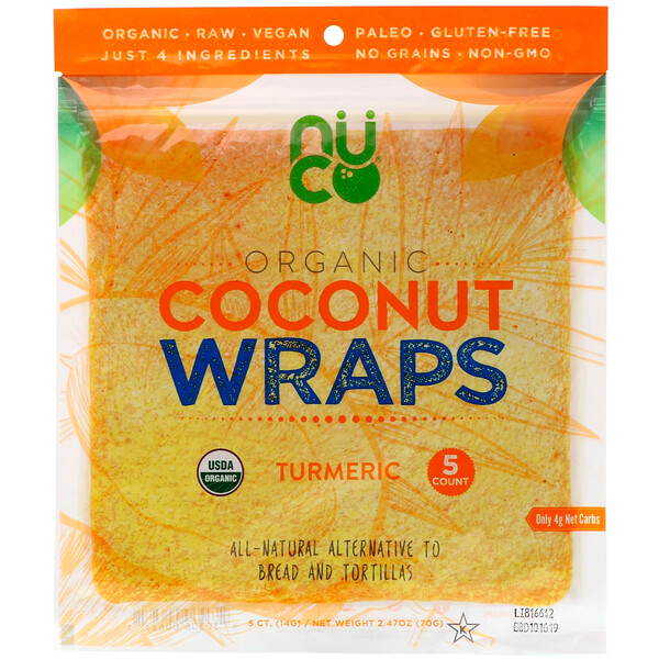 Organic Coconut Wraps, Turmeric, 5 Wraps (14 g) Each