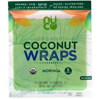 NUCO, Wraps de noix de coco biologique, Moringa, 5wraps, 14g chacun