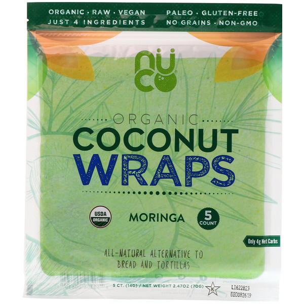 Organic Coconut Wraps, Moringa, 5 Wraps (14 g) Each