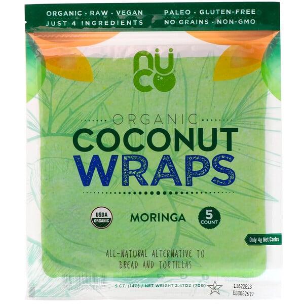 Wraps de Coco Orgânico, Moringa, 5 Wraps (14 g) Cada