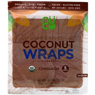 NUCO, Organic Coconut Wraps, Cinnamon, 5 Wraps (14 g) Each