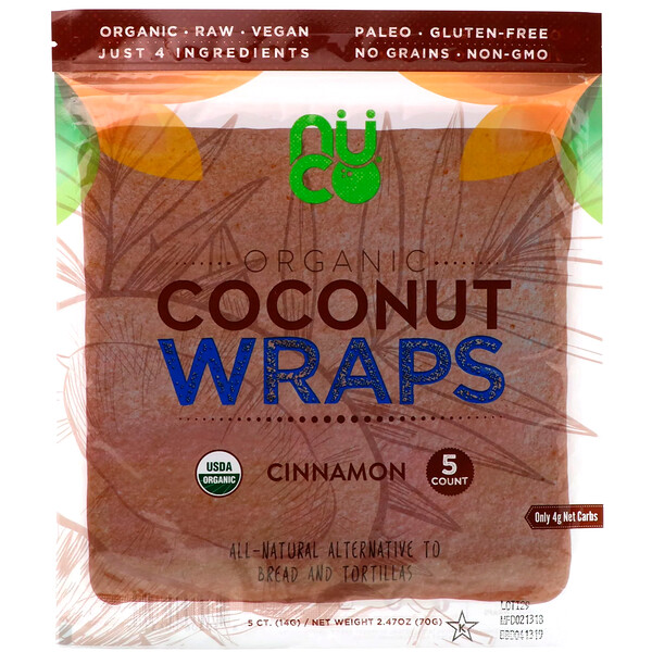 Organic Coconut Wraps, Cinnamon, 5 Wraps (14 g) Each