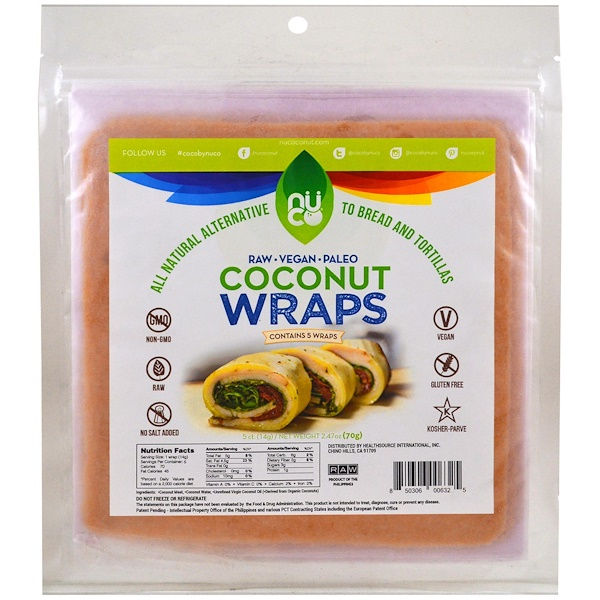 NUCO, Coconut Wraps, Original, 5 Wraps - (14 g) Each (Discontinued Item)