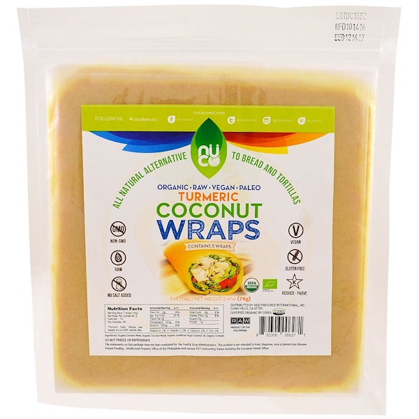 NUCO, Coconut Wraps, Turmeric , 5 Count, 2.47 oz (70 g) (Discontinued Item)