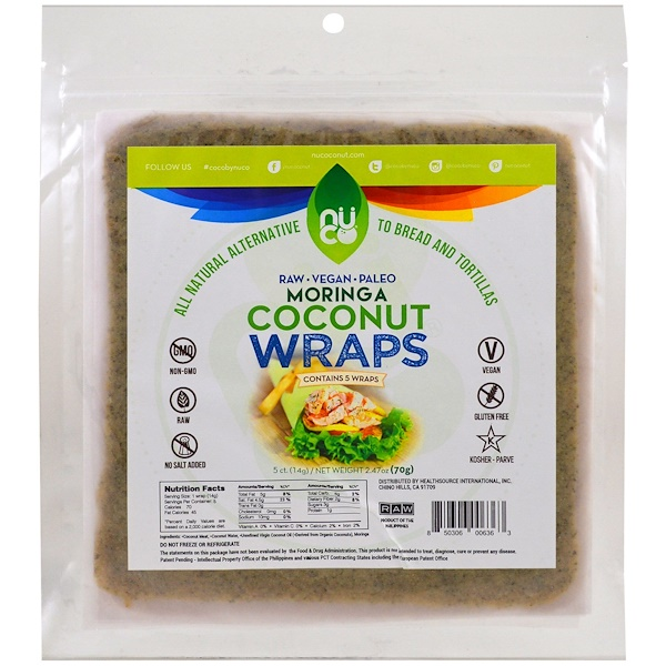 NUCO, Coconut Wraps, Moringa, 5 Wraps (14 g) Each (Discontinued Item)