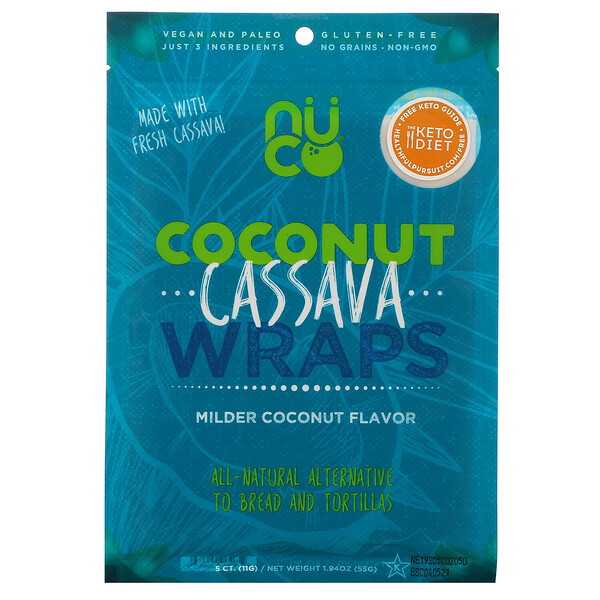 Coconut Cassava Wraps, Milder Coconut, 5 Count, 1.94 oz (55 g)