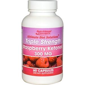 Нутритионал Концептс, Raspberry Ketones, Triple Strength, 300 mg, 60 Capsules отзывы покупателей