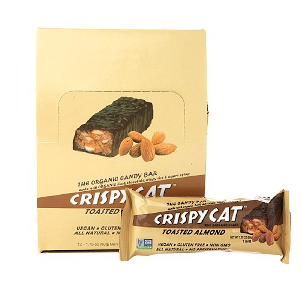 NuGo Nutrition, Crispy Cat Toasted Almond, Real Dark Chocolate, 12 Bars, 1.76 oz (50 g) Each (Discontinued Item)
