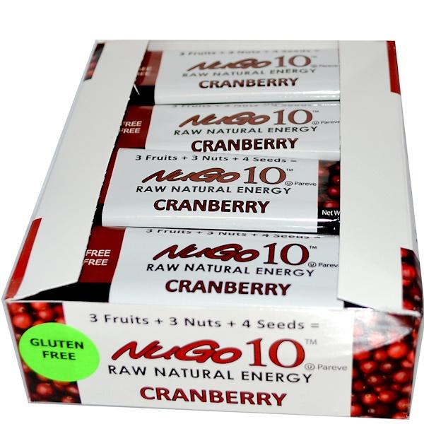 NuGo Nutrition, Nugo 10 , Сырье естественной энергии, Клюква 12 батончиков, 1.76 унции (50 г) каждый (Discontinued Item)