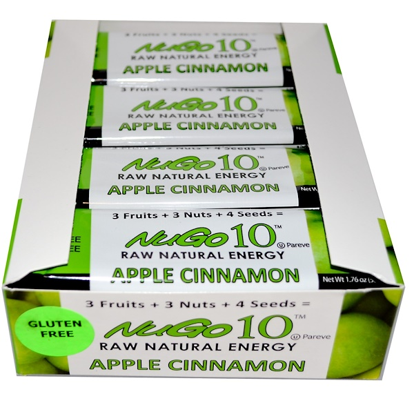 NuGo Nutrition, NuGo 10, Raw Natural Energy, Apple Cinnamon, 12 Bars, 1.76 oz (50 g) Each (Discontinued Item)