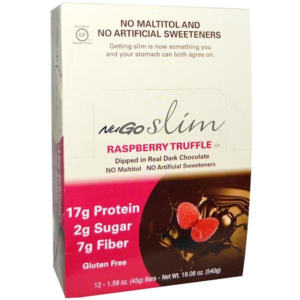NuGo Nutrition, スリム, ラズベリートリュフバー, 12 本, 各 1.59 オンス (45 g)  (Discontinued Item)
