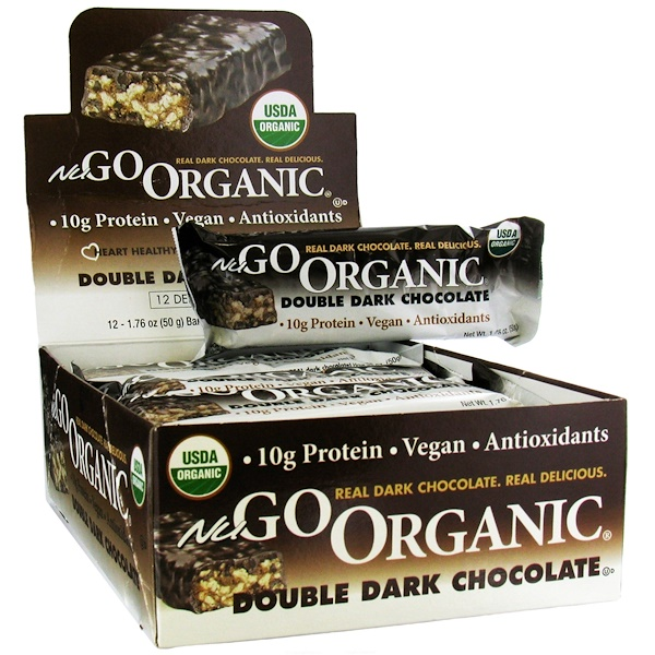 NuGo Nutrition, Organic Protein Bars, Double Dark Chocolate, 12 Bars, 1.76 oz (50 g) Each